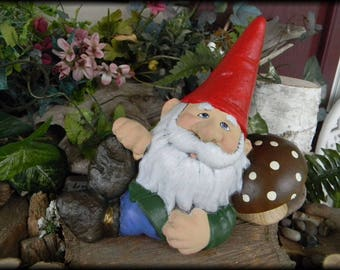 Garden Gnome Snoozing on his Shroom        ............Shhhhhh  Gnome Yard Art Brown Mushroom SPiked Hat knome