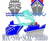 SVG Cruise Ships Set #01 Cut Files Bundle of 5 Embellishment  MTC Cricut SCAL Silhouette Cutting File