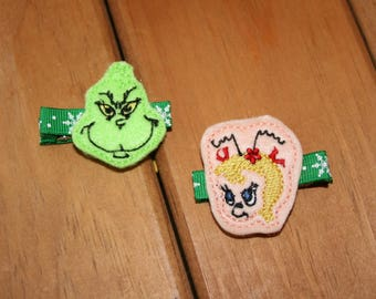 My Favorite Grouch Clippie Set II, Christmas Hair Clips