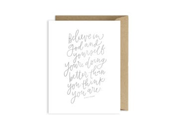 Encouragement Card - Believe in God and Yourself - LDS Quote