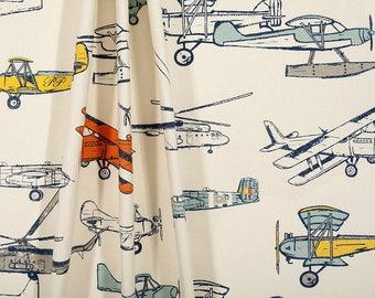 Charming Airplane Curtains, Pair Of Rod Pocket Panels, Premier Prints Vintage Air  Maya Macon,