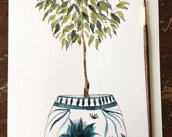 Indigo Blue 11x14 Potted Plant