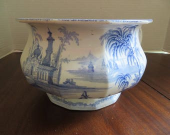 Antique Blue and  White Transfer English Chamber Pot