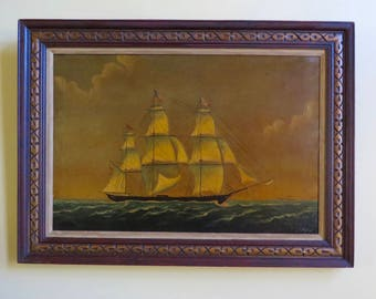 Vintage Huge Ship's Sailing Ship Nautical Framed Painting