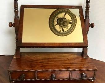 Antique Victorian Hand Made Walnut Dressing Mirror