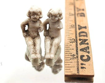 Two Sitting Girl Antique German Doll Parts Figurine for Mixed Media Art Assemblage Art Projects G3