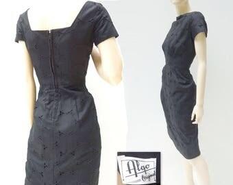 1960s Vintage Dress Black Party Dress Black Eyelet Dress Black Cotton Dress 60s Wiggle Dress Short Sleeve Dress 60s Summer Dress xs