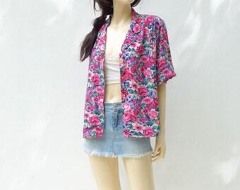 Vintage 80s Blouse 1980s Floral Blouse Pink Floral Shirt Oversized Blouse 1980s Floral Jacket Fuchsia Pink Blouse Purple Pink Blouse L