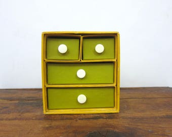 Counterpoint Dresser Box Drawers Vintage 1960s Gold & Avacado Green Small Jewelry Box Cardboard Paper Drawers Sewing Box Retro MOD Home