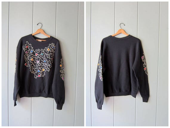 80s Bedazzled Sweatshirt Vintage Black Retro Sweater Oversized Slouchy Sweatshirt Hipster Glam Beaded Pullover Womens Large