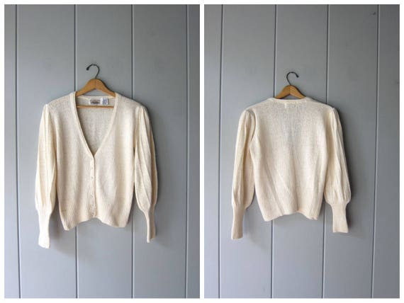 80s Silk Knit Sweater Button Up Cardigan Sweater Top White Thin Knit Princess Cropped Sweater LONG CUFFS Preppy Vintage Womens Medium