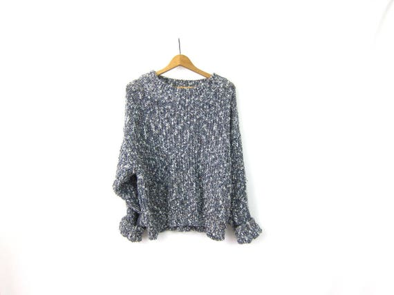 Loose Knit Sweater 90s Blue & White Marled Top GAP Sweater Slouchy Sweater Top Women's Size Large