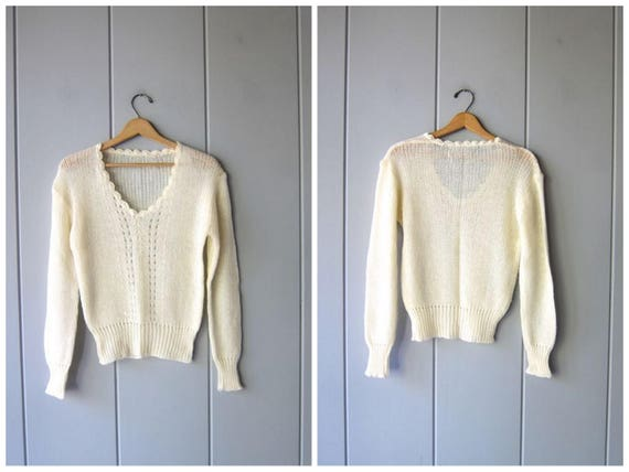70s Natural White Sweater Vintage 80s Cream SHEER Knit Soft Delicate Thin Sweater Top Minimal Vneck Sweater Prairie Top Womens Medium Large