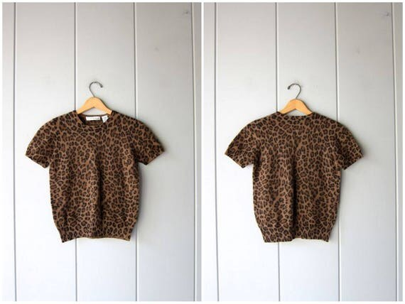 Animal Print Sweater 90s Brown Black Kitty Sweater Short Sleeve Soft Top Sexy Leopard Landswool Angora Sweater Vintage Womens Small Medium