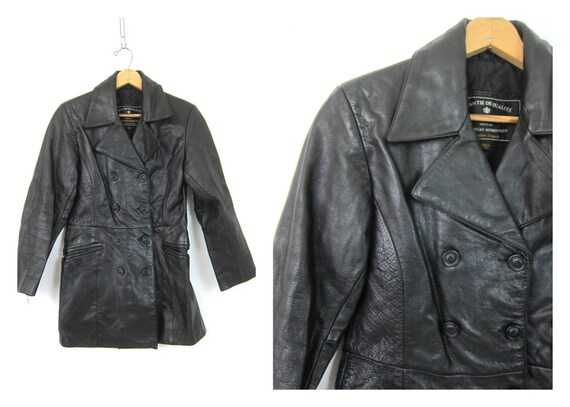 Black Leather Coat Button Down Fall Jacket 90s EXPRESS trench Coat Womens Size XS extra small