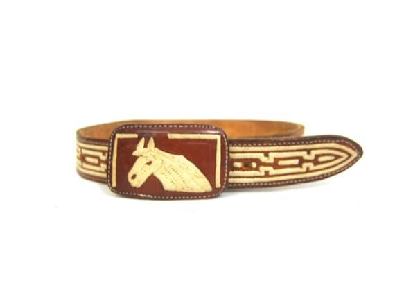 Vintage Leather Horse Buckle Belt Children's Southwestern Cowboy Cowgirl belt Western Stitched Belt XS Small
