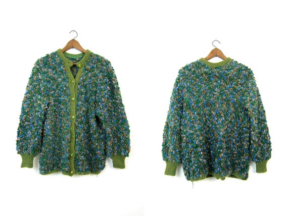 60s THICK KNIT Sweater Coat Blue Olive Green POPCORN Cardigan Hand Woven Bulky Chunky Retro Granny Cardigan Sweater Womens Xl Large