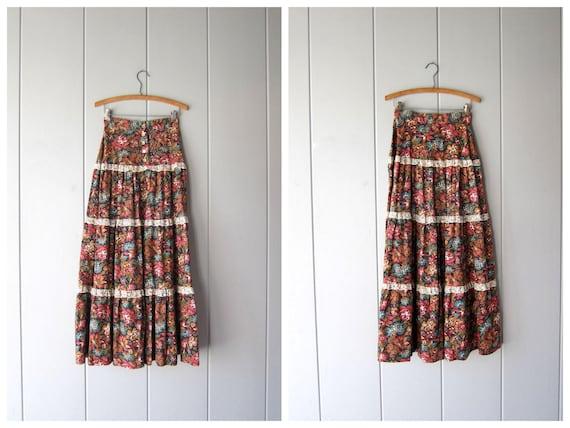 """70s Floral Skirt Flower Print Maxi Skirt High Waist Tiered Skirt Bohemian Prairie Garden Party Festival Skirt Womens Small XS 24"""""""