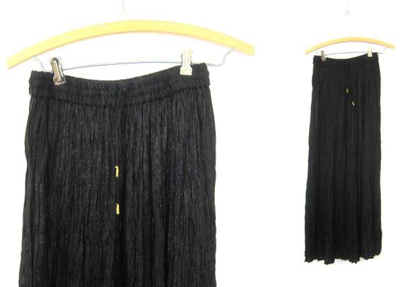 Long Black Boho Skirt Maxi Skirt Vintage 90s Peasant Festival Skirt Elastic Waist with drawstring Women's Size Small