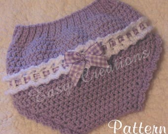 CROCHET PATTERN Ribbon Diaper Cover baby babies girl girls soaker bloomers skill level intermediate