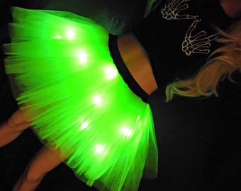Tutu Factory Party Lights Tutu - Neon Tutu with white LED Lights! Light Up Tutu With Light Raver EDC Outfit Halloween Tutu