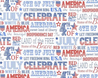 Patriotic Fabric - Sweet Land of Liberty America Words White - Northcott YARD