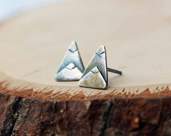 Sterling Silver Mountain Stud Earrings