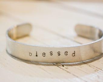 BLESSED hand stamped bracelet