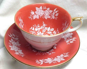 Aynsley Teacup Orange Vintage Tea Cup & Saucer White Lace Roses Bone China Pattern 2448 Made in England Elegant Dining Super Gift for Mom