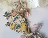 Marie Antoinette Wall Hanging, Marie Antoinette Paper Doll, Assemblage Art Decoration, Cake Decor, Wedding Decoration
