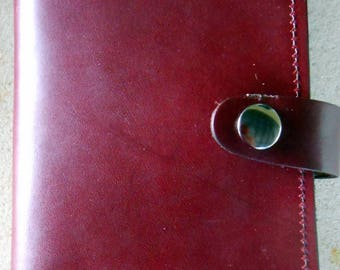 Burgundy  Leather Top Stub Check Book or Memo Book Cover with Snap Closure and Pen Slot Inside