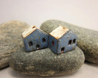 READY TO SHIP...Miniature Terracotta House Beads...Set of 2...Textured Blue Walls/Eggshell Roof