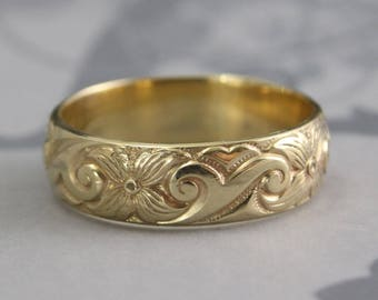 Art Nouveau Ring~Vintage Style Ring~14K Gold Midnight in the Garden Band~Antique Inspired Ring~Floral Ring~Swirl Band~Flower Band~Patterned