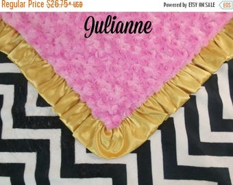 SALE Black Chevron, Medium Hot Pink and Gold Ruffle Minky Baby Blanket,  3 sizesCan Be Personalized