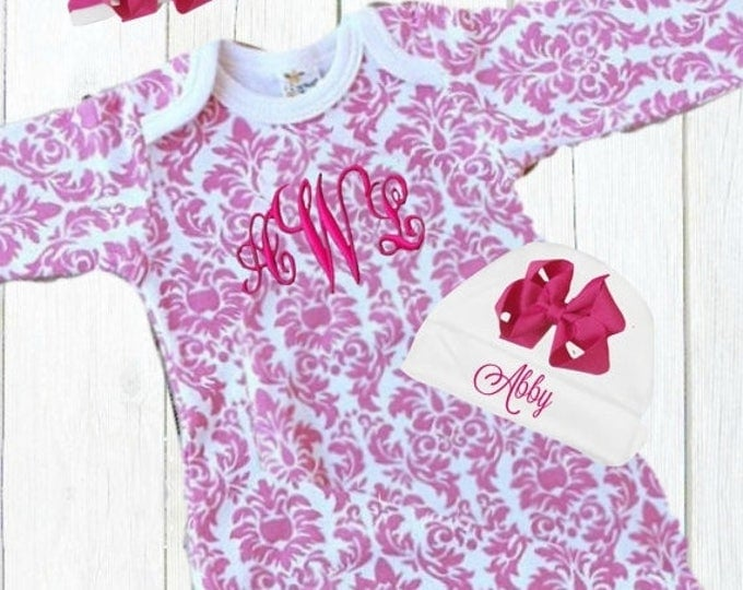 SALE Pink and White Damask Personalized Coming Home Baby Gown for Girl, Pink Monogrammed Baby Girl Gown