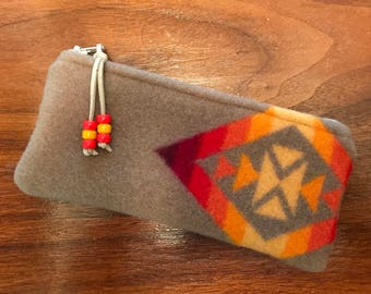 Wool Sunglasses Case / Glasses  Case / Tampon Case / Zippered Pouch Southwestern Tribal Handcrafted Using Wool from Pendleton Woolen Mills