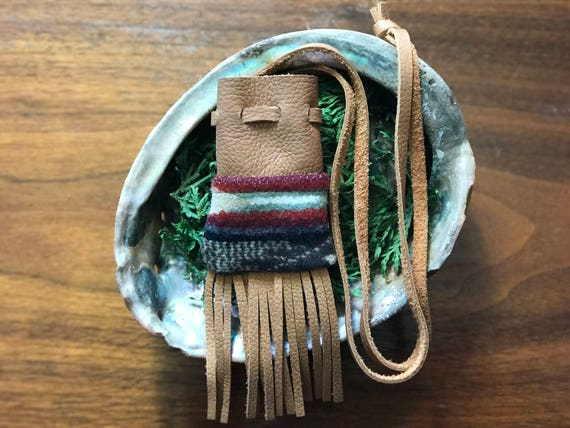 Fringed Medicine Bag / Amulet Bag Wool and Leather Earthy