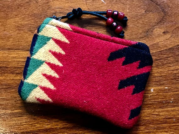 Wool Coin Purse / Phone Cord / Gift Card Holder / Zippered Pouch XL Red & Black