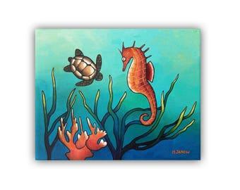 Coastal Wall Art, Nautical Nursery Sea Life Art, Original Seahorse Painting Turtle Art Nautical Wall Decor, Ocean Wall Art