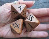 Unique and Exclusive - Rune Dice - in Antique English Elm Wood. Set 111.