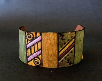 40% OFF SALE Ethnic tribal  wide women leather bracelet cuff wristband Colorful Jewelry