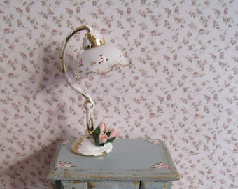 RESERVED for PRICECLAN,  Two Dollhouse Lamps, gold with peach roses, gold trimmed shade.  ,  , twelfth scale miniature