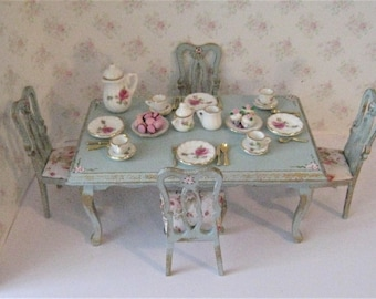 Dollhouse table, Queen Anne style table, set table, dishes,  Rectangle table, four  chairs, blue table, roses, twelfth scale miniature