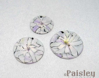 Watercolor Abstract Flowers Pendant, Round Polymer Clay Pendant in Pastel Hues
