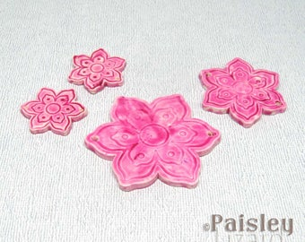 Pink Flower Pendants and Connectors, Faux Ceramic Polymer Clay Flower Charms and Pendants