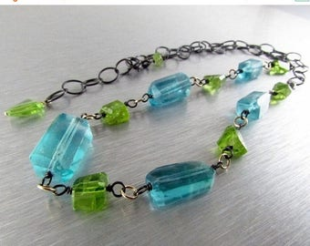 25 OFF Oxidized Silver With Blue Fluorite And Peridot Nugget Necklace