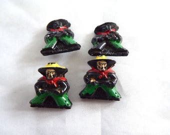 Vintage Czech Painted Glass Mexicans Novelty Shank Buttons / 4 / Pistol Packing Ranchero / Trim, Findings, Embellisments, Sewing, Crafts