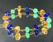 30% SALE Blue Lapis Bracelet Adjustable Layering Citrine Bracelet November Birthstone Chrysoprase Gemstone Gold Fill Bracelet Wire Wrap