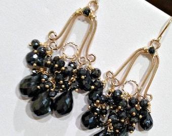30% SALE Chandelier Earrings Black Chandelier Earrings Gemstone Chandelier Earrings Black Gem Wire Wrap 14kt Gold Fill Handmade Chandelier E