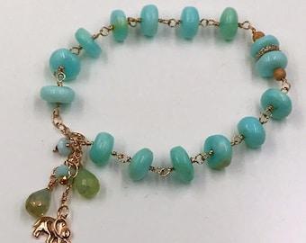30% SALE Peruvian Opal Rose Gold Bracelet Wire Wrap Layering Bracelet Rosary Style Pave Diamond Look Rose Gold Elephant Charm Bead